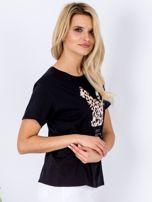 Czarny t-shirt z pluszowym kotem                                  zdj.                                  3