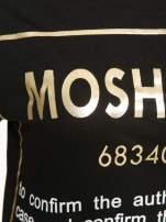 Czarny t-shirt z tekstowym nadrukiem i znakami chińskimi                                  zdj.                                  6