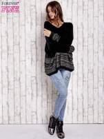 Czarny włochaty sweter oversize z kolorową nitką                                   zdj.                                  2