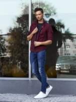 Czerwona bluza męska w kratę ze stójką