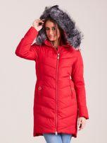 Czerwona długa kurtka na zimę                                  zdj.                                  5