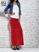 Czerwona długa spódnica maxi z rozporkiem                                  zdj.                                  2