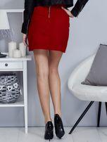 Czerwona dzianinowa spódnica mini                                  zdj.                                  2