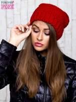 Czerwona dziergana czapka                                   zdj.                                  1