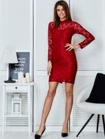 Czerwona elegancka koronkowa sukienka                                  zdj.                                  4