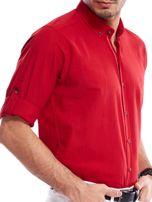 Czerwona koszula męska z podwijanymi rękawami                                  zdj.                                  5