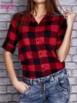 Czerwona koszula motyw kratki z denimową wstawką                                  zdj.                                  5