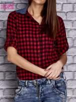Czerwona koszula w drobną kratkę z denimową wstawką                                  zdj.                                  5