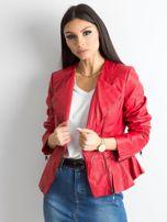 Czerwona kurtka ze skóry ekologicznej                                  zdj.                                  1