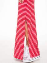 Czerwona prosta długa sukienka w paski z bawełny                                  zdj.                                  7