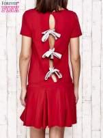 Różowa sukienka dresowa z kokardami z tyłu                                                                          zdj.                                                                         4