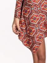 Czerwona sukienka etno z łączonych materiałów                                                                          zdj.                                                                         6