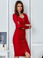 Czerwona sukienka z suwakiem                                  zdj.                                  3