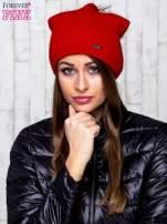Czerwona wełniana czapka z futrzanym pomponem                                                                           zdj.                                                                         1