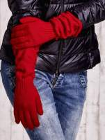 Czerwone długie rękawiczki z marszczonym ściągaczem                                   zdj.                                  3