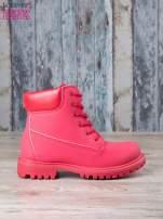 Czerwone jednolite buty trekkingowe damskie traperki ocieplane                                                                          zdj.                                                                         1