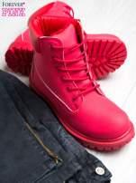 Czerwone jednolite buty trekkingowe damskie traperki ocieplane                                                                          zdj.                                                                         2