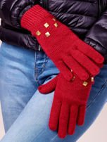 Czerwone rękawiczki z ćwiekami i ściągaczem                                  zdj.                                  2
