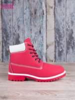 Czerwono-białe buty trekkingowe damskie traperki ocieplane                                   zdj.                                  1