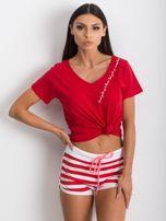Czerwono-białe szorty Malleable                                  zdj.                                  5
