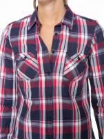 Czerwono-granatowa koszula w kratę z kieszeniami                                  zdj.                                  5