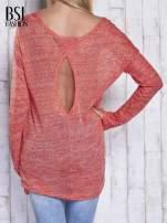 Czerwony melanżowy sweter z łezką na plecach                                  zdj.                                  2