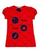 Czerwony t-shirt dla dziewczynki z naszywkami                                  zdj.                                  1