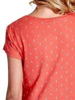 Czerwony t-shirt w drobne kotwice                                  zdj.                                  6
