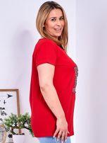 Czerwony t-shirt z błyszczącą gwiazdą PLUS SIZE                                  zdj.                                  3