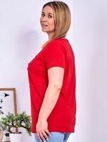Czerwony t-shirt z błyszczącymi gwiazdami PLUS SIZE                                  zdj.                                  5
