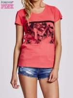 Czerwony t-shirt z napisem GANG                                  zdj.                                  1