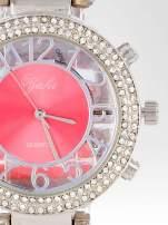 Czerwony zegarek na bransolecie z cyrkoniami na tarczy                                  zdj.                                  6