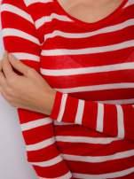 Damski longsleeve w biało-czerwone paski