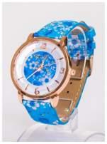 Damski zegarek z ozdobnym motywem kwiatowym na pasku oraz dużej tarczy                                   zdj.                                  2