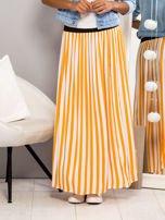 Długa spódnica maxi w biało-pomarańczowe paski                                  zdj.                                  2