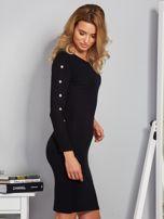 Dopasowana sukienka z oczkami na rękawach czarna                                  zdj.                                  5