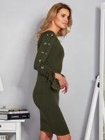 Dopasowana sukienka z rękawami lace up khaki                                  zdj.                                  3