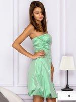 Drapowana sukienka z metalicznym połyskiem zielona                                  zdj.                                  3