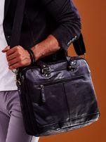 Dwukomorowa skórzana torba męska na ramię czarna                                  zdj.                                  2