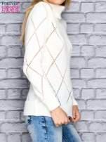Ecru ażurowy sweter z golfem                                  zdj.                                  3