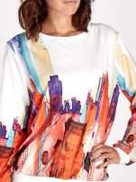 Ecru bluza z malowanym nadrukiem                                                                          zdj.                                                                         4