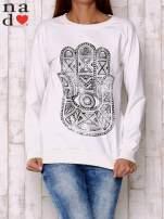 Ecru bluza z motywem dłoni                                  zdj.                                  1