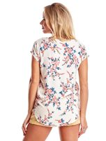 Ecru bluzka z motywem kwiatu wiśni                                  zdj.                                  2