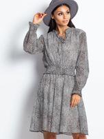 Ecru-brązowa sukienka w cętki                                  zdj.                                  1