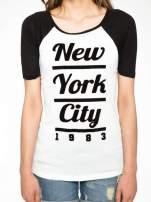 Ecru-czarny t-shirt z nadrukiem NEW YORK CITY 1983                                  zdj.                                  7