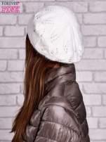 Ecru dzianinowa czapka z angory                                  zdj.                                  2