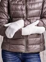 Ecru gładkie rękawiczki z jednym palcem                                                                          zdj.                                                                         3