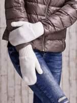 Ecru gładkie rękawiczki z jednym palcem                                  zdj.                                  1