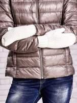Ecru grube rękawiczki na jeden palec                                  zdj.                                  3