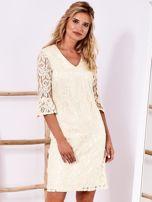 Ecru koronkowa sukienka z szerokimi rękawami                                  zdj.                                  1